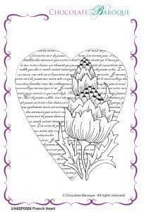 Chocolate Baroque French Heart Rubber Stamp